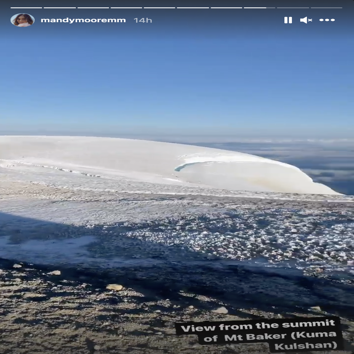 A screenshot of the Mount Baker summit posted on Mandy Moore's Instagram Story
