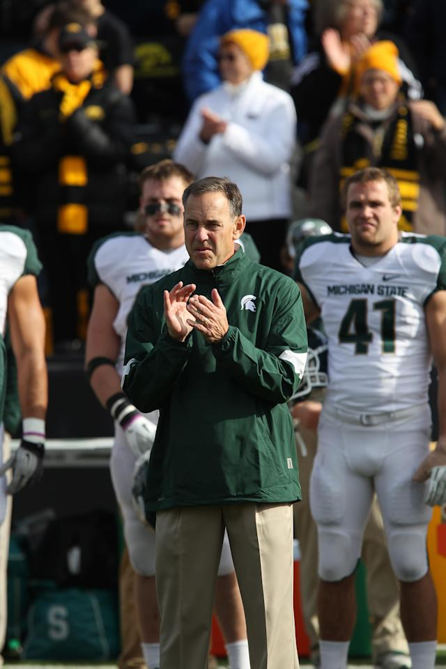 IOWA CITY, IA - NOVEMBER 12: Head Coach Mark Dantonio of the Michigan State Spartans looks on against the Iowa Hawkeys at Kinnick Stadium November 12, 2011 in Iowa City, Iowa. Michigan State beat Iowa 37-21. (Photo by Reese Strickland/Getty Images)