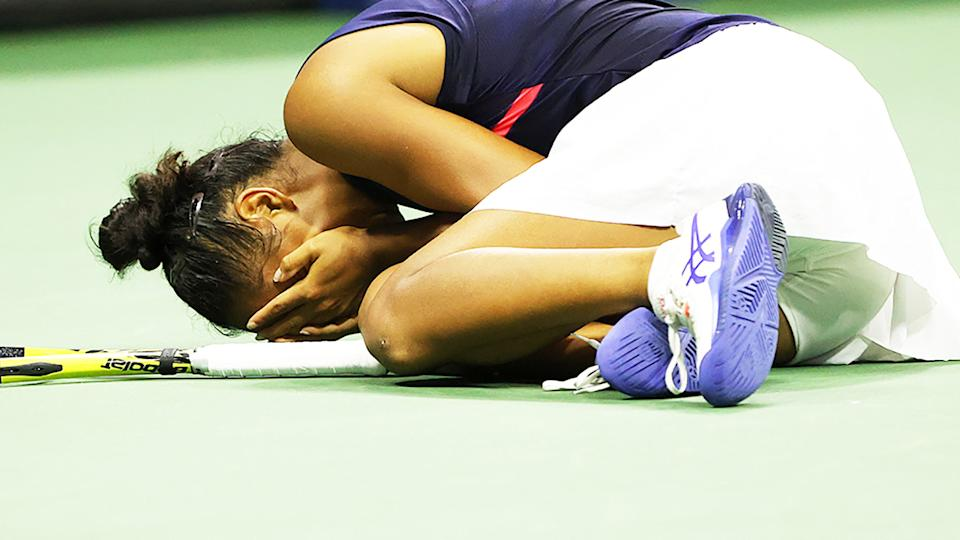 Leylah Fernandez, pictured here after defeating Aryna Sabalenka at the US Open.