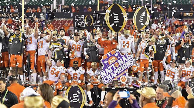 <p>Clemson, Oklahoma, Georgia and Alabama are the final four teams in the College Football Playoff.</p><p>Ohio State's victory over Wisconsin in the Big Ten Championship game forced the committee to choose between the two-loss Buckeyes and one-loss Alabama, which lost to Auburn in the final week of the season to miss the SEC Championship Game.</p><p>In the end, the Committee went with Alabama, who did not win their division or conference. It is the first time in the four-year playoff era that two teams from the same conference made the playoff.</p><p>The ACC (Clemson-Miami) and SEC (Auburn-Georgia) essentially served as play-in games for the playoff, and the Tigers and Bulldogs took care of business to book their place in the final four title games. Georgia beat Auburn 28-7, while Clemson beat Miami 38–3.</p><p>The two playoff games are played on New Years Day. No. 2 Oklahoma will face No. 3 Georgia in the Rose Bowl. Top–ranked Clemson will face Alabama in the Allstate Sugar Bowl in a rematch of the last two national championship games.</p><p>Ohio State is No. 5 and Wisconsin came in at No. 6.</p><p>The semifinal games will both take place on New Year's Day, with one at the Rose Bowl and the other at the Mercedes-Benz in New Orleans.</p><p>The winners of the semifinal games will meet in the College Football Playoff National Championship on Jan. 8 at Mercedes-Benz Stadium in Atlanta.</p><p>Here is the rest of the CFP Top 25:</p><p>7. Auburn<br>8. USC<br>9. Penn State<br>10. Miami<br>11. Washington<br>12. UCF<br>13. Stanford<br>14. Notre Dame<br>15. TCU<br>16. Michigan State<br>17. LSU<br>18. Washington State<br>19. Oklahoma State<br>20. Memphis<br>21. Northwestern<br>22. Virginia Tech<br>23. Mississippi State<br>24. NC State<br>25. Boise State</p>