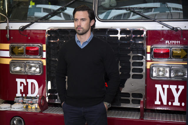 Milo Ventimiglia teamed up with Duracell, visiting the New York City Fire Department this week to remind everyone to change their smoke detector batteries when changing their clocks for daylight saving time. (Santiago Felipe via Getty Images)