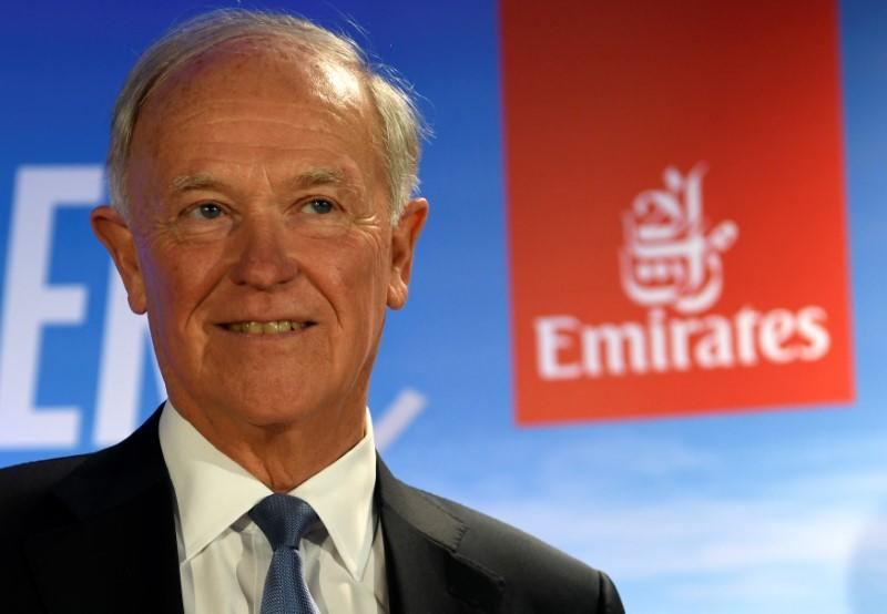 Tim Clark, President of Emirates Airlines, delivers his speech during a presentation of Emirates Boeing 777 at the airport in Hamburg