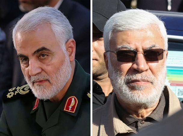 PHOTO: Iranian Major General Qassem Soleimani, left and Iraqi militia commander Abu Mahdi al-Muhandis, right, in photos provided by the office of the Iranian supreme leader. (Office of the Iranian Supreme Leader via AFP/Getty Images.)