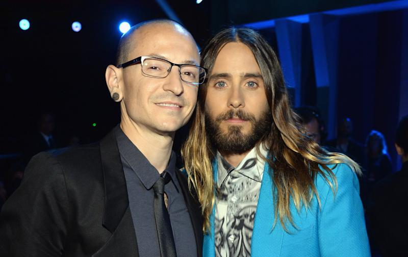 Chester Bennington and Jared Leto in May 2014.