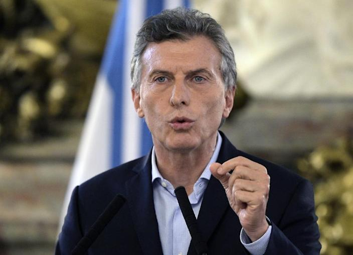 Argentine President Mauricio Macri delivers a speech at Casa Rosada Government Palace in Buenos Aires on April 7, 2016, after a prosecutor opened an investigation on his offshore financial dealings leaked in the Panama Papers (AFP Photo/Juan Mabromata)