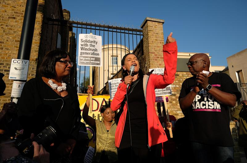 (left to right) Shadow Home Secretary, Diane Abbott, and Labour councillor Claudia Webbe address protesters during a solidarity rally in Windrush Square, Brixton, south London, to show support for the so-called Windrush generation after it emerged that the Home Office destroyed thousands of landing cards documenting the arrival of windrush-era migrants. Picture dated: Friday April 20, 2018. Photo credit should read: Isabel Infantes / EMPICS Entertainment.