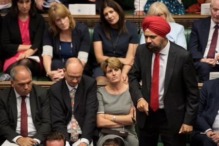 Britain's Labour MP Tanmanjeet Singh Dhesi speaks during Prime Minister's Questions session in the House of Commons in London