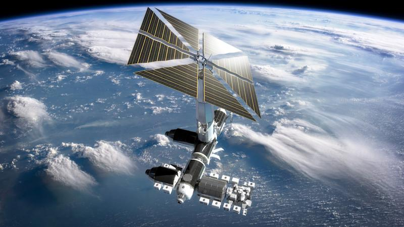 A rendering shows how Axiom's space station would appear when it is no longer attached to the ISS.