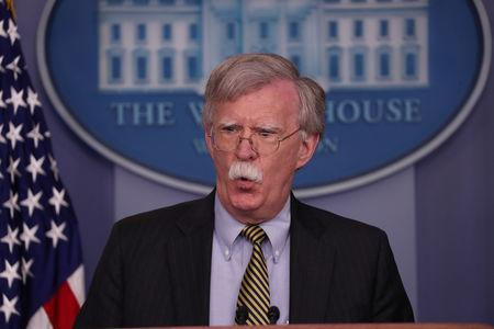 U.S. National Security Advisor Bolton answers questions during news conference in the White House briefing room in Washington