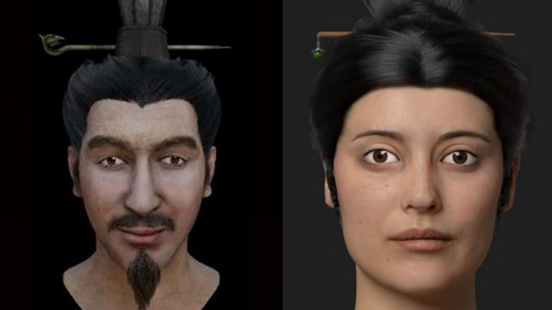 Could these be the faces of the murdered wife and son of China's first emperor Qin Shi Huang?