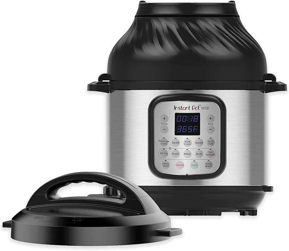 <p>If you truly want a gadget that does it all, the <span>Instant Pot Duo Crisp 11-in-1 Electric Pressure Cooker With Air Fryer Lid</span> ($120, originally $200) will be the only thing on your counter. It's the same beloved Instant Pot that can pressure cook, sauté, cook rice, steam veggies, and more, but now it can also air fry! How cool is that!?</p>