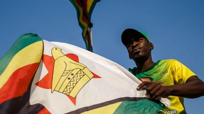 A supporter of Zimbabwe's ruling Zanu-PF party waves the national flag