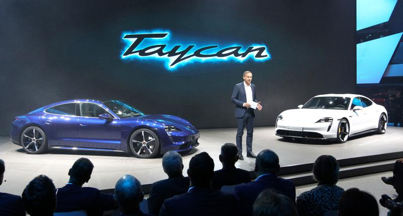 Oliver Blume, CEO of German car maker Porsche, is pictured during a media presentation of the new Porsche Taycan all-electic car at the company's booth on the fair grounds in Frankfurt am Main, western Germany, on September 10, 2019, where preparations are under way for the International Auto Show (IAA). - Frankfurt's biennial International Auto Show (IAA) opens its doors to the public on September 12, 2019, but major foreign carmakers are staying away while climate demonstrators march outside -- forming a microcosm of the under-pressure industry's woes. (Photo by Daniel ROLAND / AFP) (Photo credit should read DANIEL ROLAND/AFP/Getty Images)