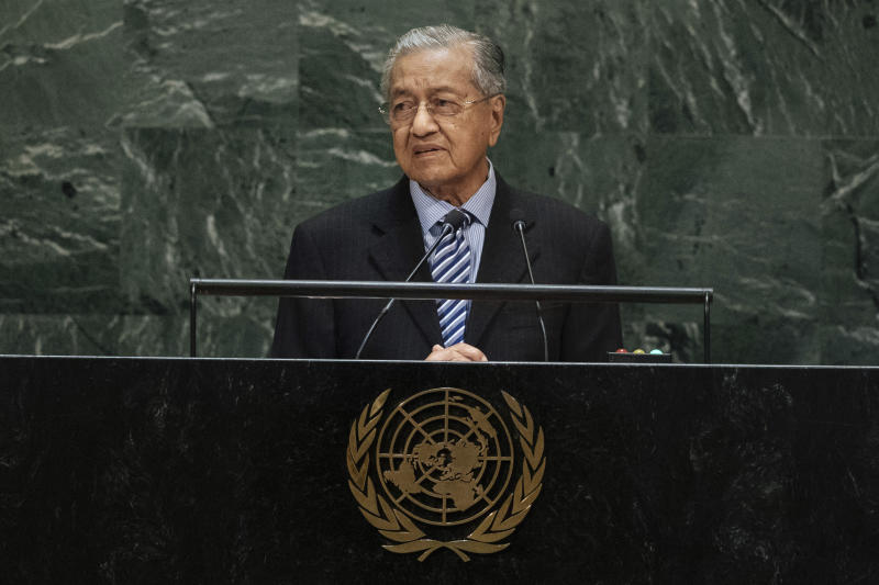 Malaysia's Prime Minister Mahathir Bin Mohamad addresses the 74th session of the United Nations General Assembly at the U.N. headquarters Friday, Sept. 27, 2019. (AP Photo/Kevin Hagen)