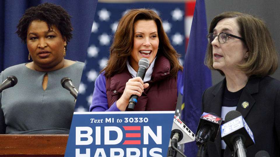 Stacey Abrams, Gretchen Whitmer and Kate Brown