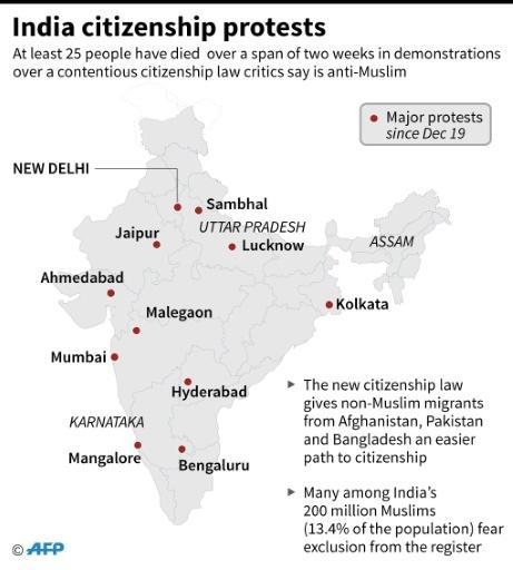 Map of India showing the main areas of protests on recent days, related to the newly passed amendment to the citizenship law