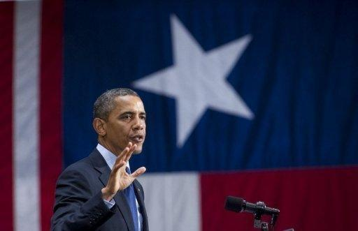 US President Barack Obama speaks during a campaign event in San Antonio, Texas, on July 17. Obama jetted into the Republican bastion of Texas to raise funds and burnish his nationwide appeal as opponents called his American identity into question