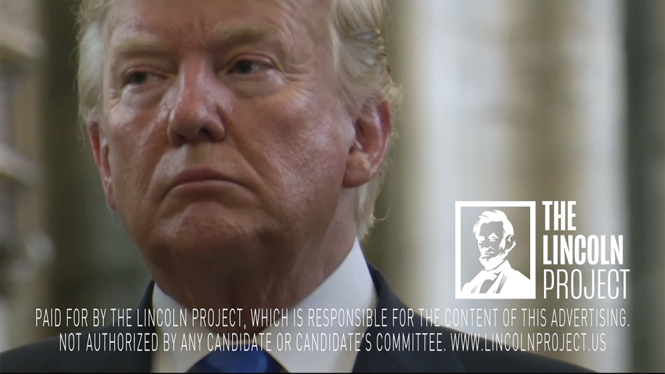 "A screengrab from the Lincoln Project's new online ad ""A Virus in the World."" (YouTube)"