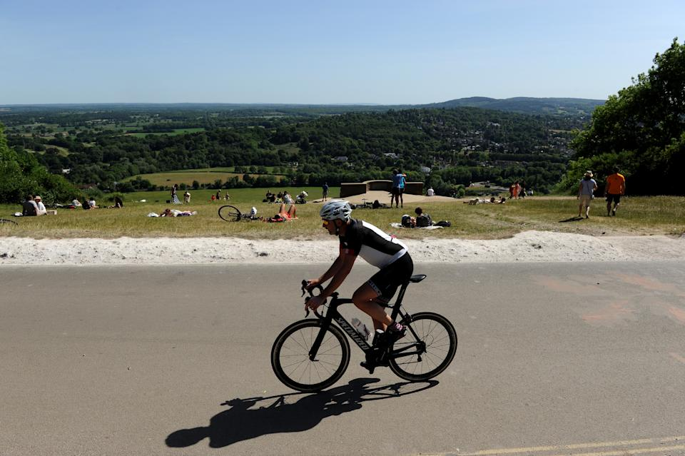 A cyclist making his way up Box Hill (Getty Images)