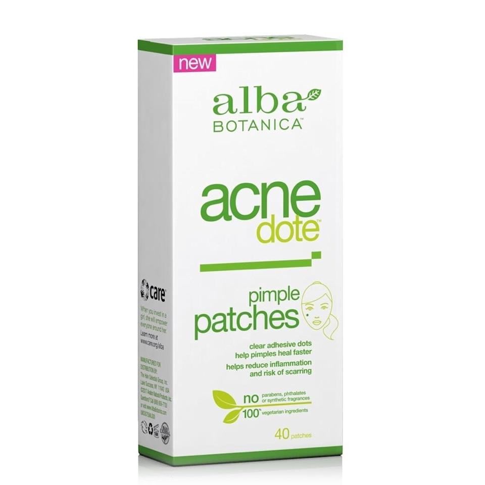 "<p>These little patches powerfully draw out fluids and oils from stubborn zits, not only helping to expedite the healing process by keeping skin moist but by also keeping out bacteria — including the kind on your fingers from when you're tempted to pick. </p> <p><strong>$7</strong> (<a href=""https://www.target.com/p/alba-botanica-acne-pimple-patch-40ct/-/A-52561257"" rel=""nofollow"">Shop Now</a>)</p>"