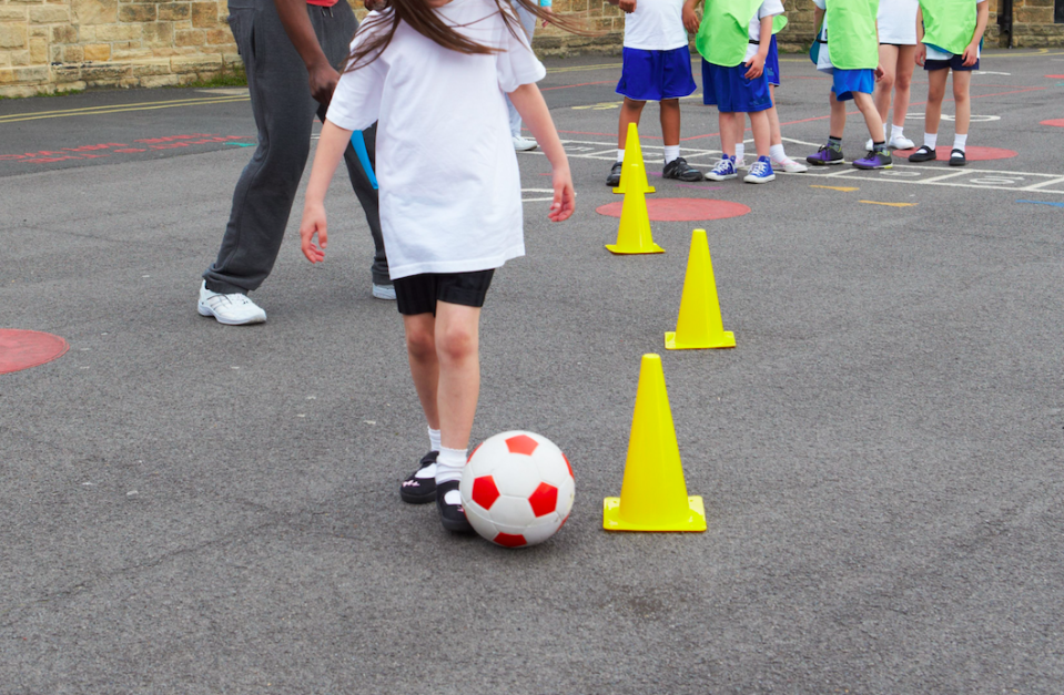 <em>Pupils whose parents had donated were allowed to use footballs and tennis balls at lunchtime (Rex/stock photo)</em>