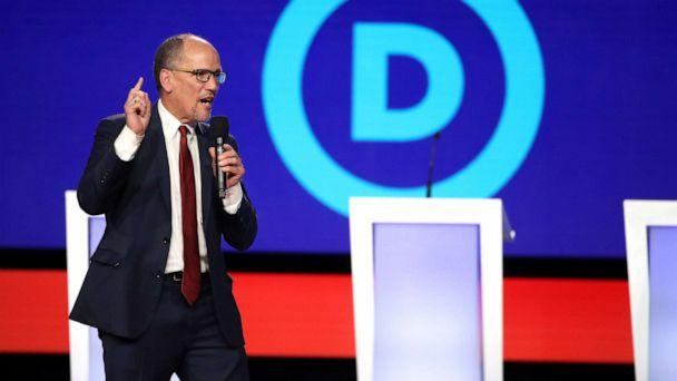 PHOTO: Democratic National Committee chair Tom Perez speaks before the Democratic Presidential Debate at Otterbein University, Oct. 15, 2019, in Westerville, Ohio. (Win Mcnamee/Getty Images)