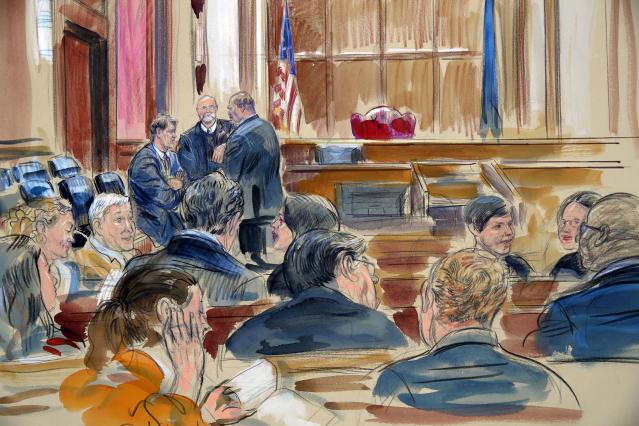 <p>This courtroom sketch shows spectators waiting the the courtroom as the jury continues to deliberate in the bank fraud and tax evasion trial of Paul Manafort behind the closed door, at back left, in the courtroom of U.S. District court Judge T.S. Ellis III at federal court in Alexandria, Va., Monday, Aug. 20, 2018. (Photo: Dana Verkouteren via AP) </p>