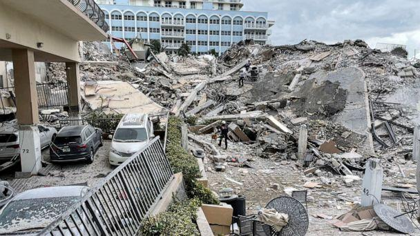 PHOTO: Emergency personnel work at the site of a partially collapsed building in Surfside near Miami Beach, Fla., June 24, 2021. (Miami-Dade Fire Rescue via Reuters)