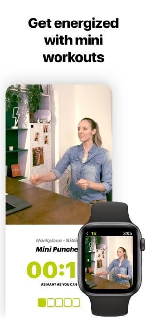 Screenshot of Wakeout app showing woman exercising at her desk and text saying Get organized with mini workouts