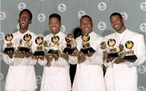 """<p>Boyz II Men, founded in the late '80s, is known for its soulful ballads and haunting harmonies in hits such as <a href=""""https://www.amazon.com/Hard-Goodbye-Yesterday-Original-Version/dp/B004GNRV04/?tag=syn-yahoo-20&ascsubtag=%5Bartid%7C10055.g.33861456%5Bsrc%7Cyahoo-us"""" rel=""""nofollow noopener"""" target=""""_blank"""" data-ylk=""""slk:""""It's So Hard to Say Goodbye to Yesterday"""""""" class=""""link rapid-noclick-resp"""">""""It's So Hard to Say Goodbye to Yesterday""""</a> (1991), <a href=""""https://www.amazon.com/End-Of-The-Road/dp/B000W0AIE6/?tag=syn-yahoo-20&ascsubtag=%5Bartid%7C10055.g.33861456%5Bsrc%7Cyahoo-us"""" rel=""""nofollow noopener"""" target=""""_blank"""" data-ylk=""""slk:""""End of the Road"""""""" class=""""link rapid-noclick-resp"""">""""End of the Road""""</a> (1992), and <a href=""""https://www.amazon.com/Ill-Make-Love-To-You/dp/B000WKYBB2/?tag=syn-yahoo-20&ascsubtag=%5Bartid%7C10055.g.33861456%5Bsrc%7Cyahoo-us"""" rel=""""nofollow noopener"""" target=""""_blank"""" data-ylk=""""slk:""""I'll Make Love to You (1994)"""" class=""""link rapid-noclick-resp"""">""""I'll Make Love to You (1994)</a>,"""" staying at #1 for 14 weeks and winning a Grammy. The group still tours and has a strong following after more than 25 years in the industry.</p>"""