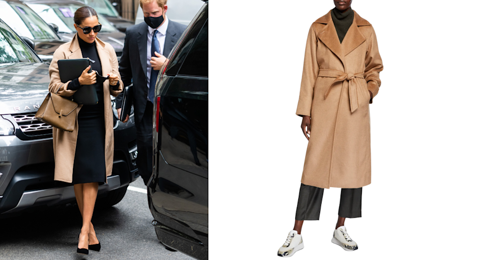 meghan markle in new york city with prince harry wearing a max mara camel coat, black heels, a black dress, and beige bag
