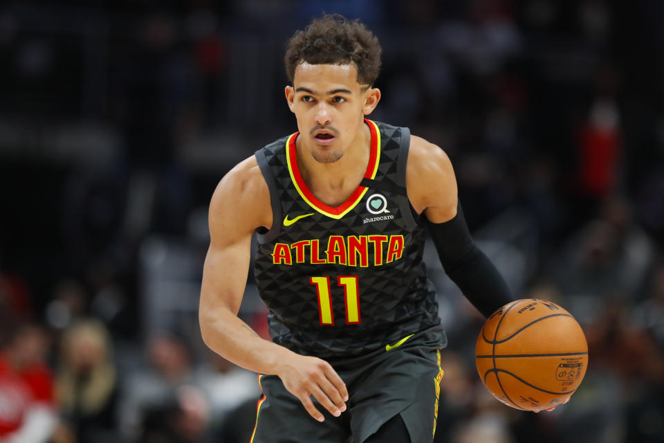 ATLANTA, GA - FEBRUARY 29: Trae Young #11 of the Atlanta Hawks controls the ball during the second half of an NBA game against the Portland Trail Blazers at State Farm Arena on February 29, 2020 in Atlanta, Georgia. NOTE TO USER: User expressly acknowledges and agrees that, by downloading and/or using this photograph, user is consenting to the terms and conditions of the Getty Images License Agreement. (Photo by Todd Kirkland/Getty Images)