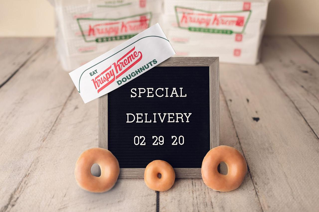 """<p>Krispy Kreme is finally <a href=""""https://www.delish.com/food-news/a31046953/krispy-kreme-nationwide-delivery/"""" target=""""_blank"""">introducing delivery</a> on leap day this year. To mark this momentous occasion, the chain is also giving out free donut deliveries to dozens of hospitals to celebrate all the babies born on this special day (and the medical professionals that help deliver them). </p><p>If a baby is born at a hospital 10 miles away from a Krispy Kreme location, all you have to do is cite the hospital, tag @KrispyKreme and use #KrispyKremeSpecialDelivery.</p>"""