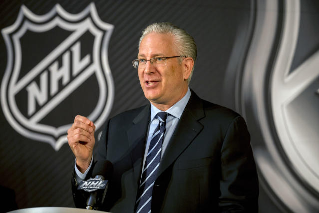 Seattle Hockey Partners President and CEO Tod Leiweke speaks after the NHL Board of Governors named Seattle as the league's 32nd franchise, Tuesday, Dec. 4, 2018, in Sea Island, Ga. (AP Photo/Stephen B. Morton)