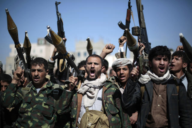 Armed tribesmen loyal to Houthi rebels in Sanaa, Yemen, in 2016. (Photo: Hani Mohammed/AP)