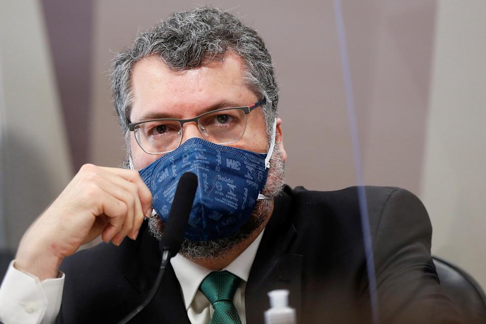 Former Brazil's Foreign Minister Ernesto Araujo attends a meeting of the Parliamentary Inquiry Committee (CPI) to investigate government actions and management during the coronavirus disease (COVID-19) pandemic, at the Federal Senate in Brasilia, Brazil May 18, 2021. REUTERS/Adriano Machado
