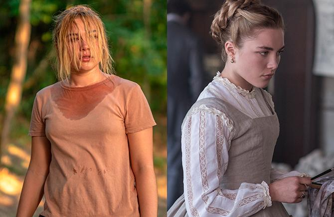 Florence Pugh en 'Midsommar' (Gabor Kotschy), en 'Mujercitas' (Wilson Webb; © 2019 CTMG, Inc. All Rights Reserved.)