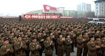 Soldiers rally to celebrate North Korea's successful third nuclear test, on Kim Il Sung Square in Pyongyang on February 14, 2013, in a photo from North Korea's official Korean Central News Agency