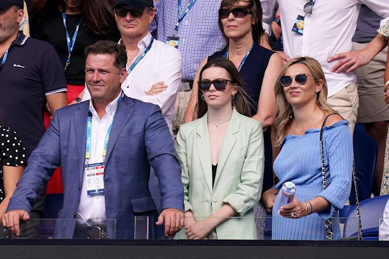 Karl Stefanovic his daughter Ava and wife Jasmine Yarbrough are seen after the second round match between Ashleigh Barty of Australia and Polona Hercog of Slovenia on day three of the Australian Open tennis tournament at Rod Laver Arena in Melbourne, Wednesday, January 22, 2020.