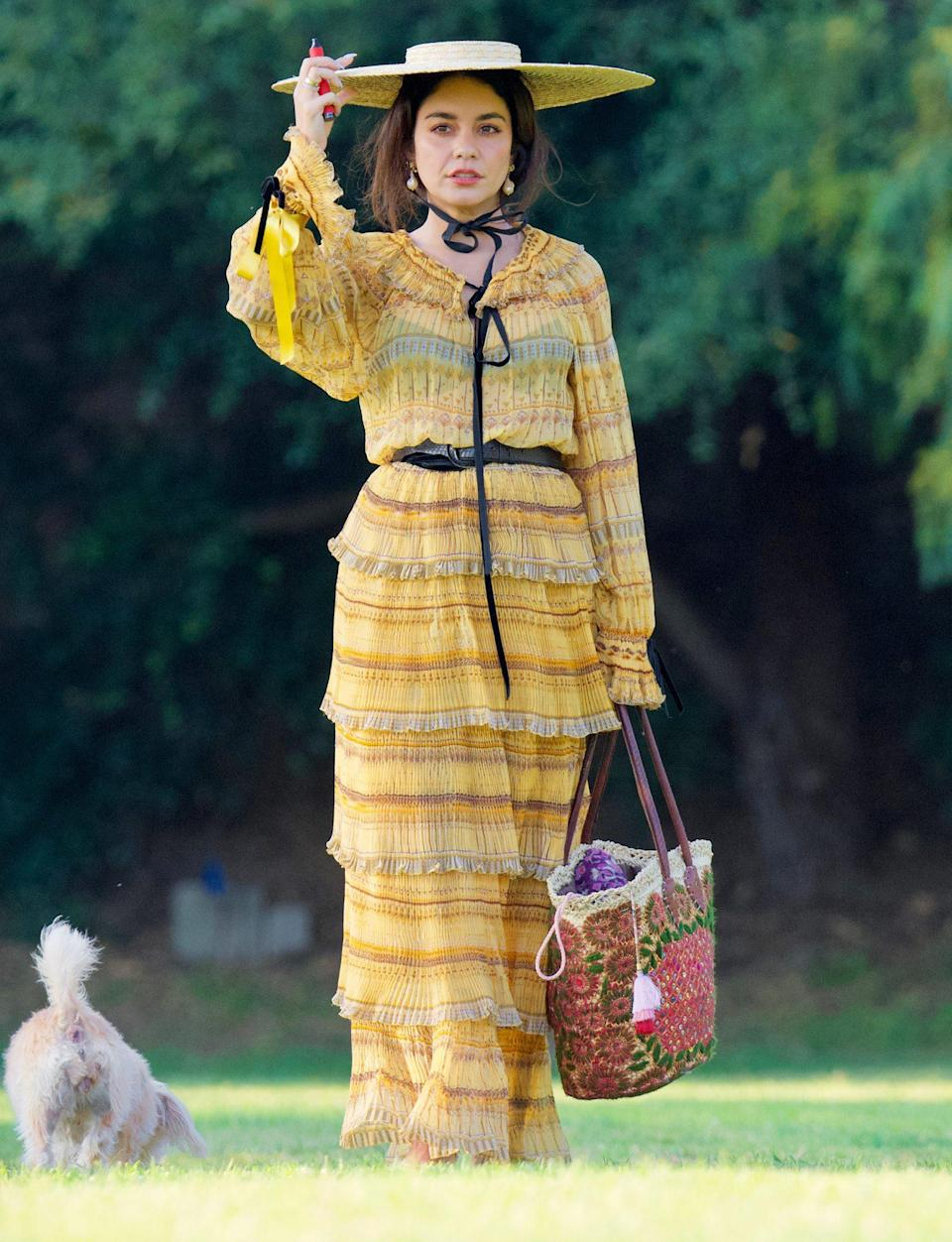 <p>Vanessa Hudgens is dressed to the nines for a themed party in an L.A. park with pals on June 3. </p>