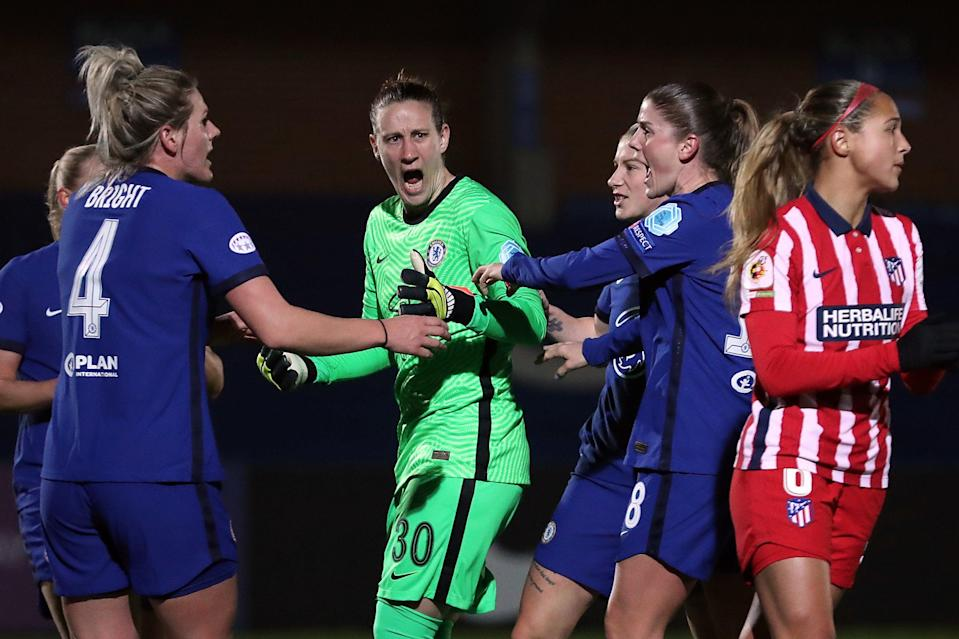 <p>Chelsea goalkeeper Ann-Katrin Berger saved two penalties against Atletico Madrid</p> (Getty Images)