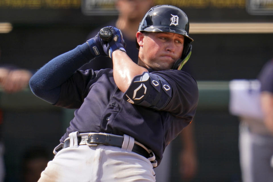 Detroit Tigers' Spencer Torkelson gets out of the way of an inside pitch during the fifth inning of a spring training exhibition baseball game against the Pittsburgh Pirates at LECOM Park in Bradenton, Fla., Tuesday, March 2, 2021. (AP Photo/Gene J. Puskar
