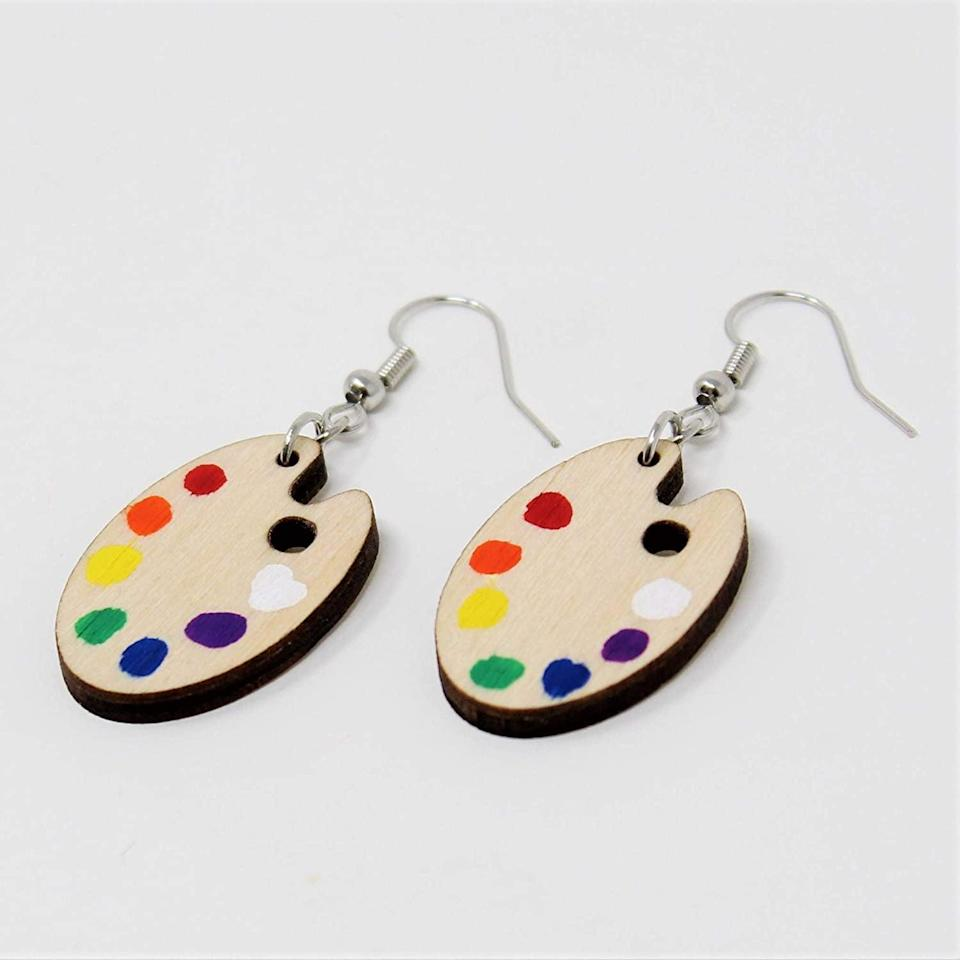 <p>These <span>Telestic Design Paint Palette Dangle Earrings</span> ($15) will appeal to your inner artist.</p>