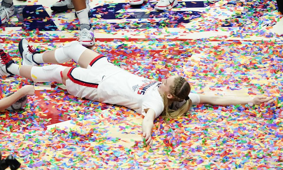 Mar 8, 2021; Uncasville, Connecticut, USA; UConn Huskies guard Paige Bueckers (5) celebrates after defeating the Marquette Golden Eagles in the Big East Championship game at Mohegan Sun. Mandatory Credit: David Butler II-USA TODAY Sports
