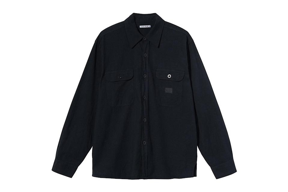 "$220, Stüssy. <a href=""https://www.stussy.com/collections/new-arrivals/products/country-shirt-overdyed-black-chambray?variant=32954033930336"" rel=""nofollow noopener"" target=""_blank"" data-ylk=""slk:Get it now!"" class=""link rapid-noclick-resp"">Get it now!</a>"