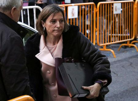 Carme Forcadell, Speaker of the Catalan parliament, arrives to Spain's Supreme Court before she was remanded in custody pending payment of a 150,000-euro bail, in Madrid