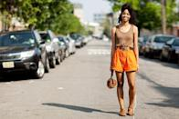 <p>Summer is the season for going bold. Bright shorts offer a surprising pop of color in a neutral look.</p>