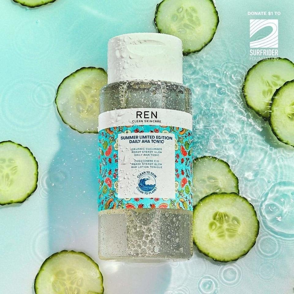 """This seve-in-1 tonic will help streamline your beauty routine, because it containsAlpha hydroxy acids (AHAs) and beta hydoxy acids (BHAs) that gently exfoliate dead, dull skin so you can achieve a brighter *and* smoother complexion.<br /><br /><strong>Promising review:</strong> """"If you're just dipping your toes in the liquid exfoliant pool, I highly recommend giving this a try. <strong>I find it gentle enough for daily use (I don't have sensitive skin though so you'll have to find the right frequency for yourself!), and it really helps keep my skin smooth.</strong> If I don't exfoliate for a few days, I can feel the difference in my skin texture, and my complexion looks dull.""""— <a href=""""https://www.buzzfeed.com/melanie_aman"""" target=""""_blank"""" rel=""""noopener noreferrer"""">Melanie Aman</a><br /><br /><strong>Get it from Ren Skincare for <a href=""""https://go.skimresources.com?id=38395X987171&xs=1&url=https%3A%2F%2Fusa.renskincare.com%2Fproducts%2Fsummer-limited-edition-daily-aha-tonic&xcust=HPBasicBeauty607dad6fe4b0bc5a3a5a7609"""" target=""""_blank"""" rel=""""noopener noreferrer"""">$39</a>.</strong>"""
