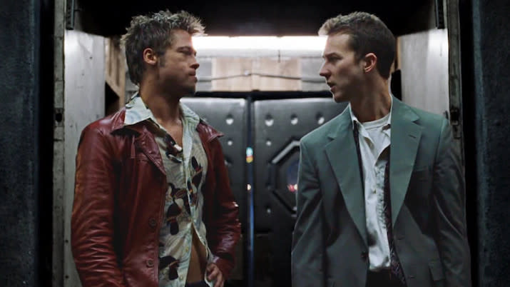 Brad Pitt and Edward Norton in 1999's 'Fight Club'. (Credit: Fox)