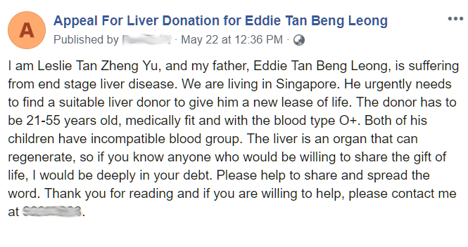 The appeal for a liver donor posted on a Facebook page has since been taken down. (Screencap of Leslie's post)